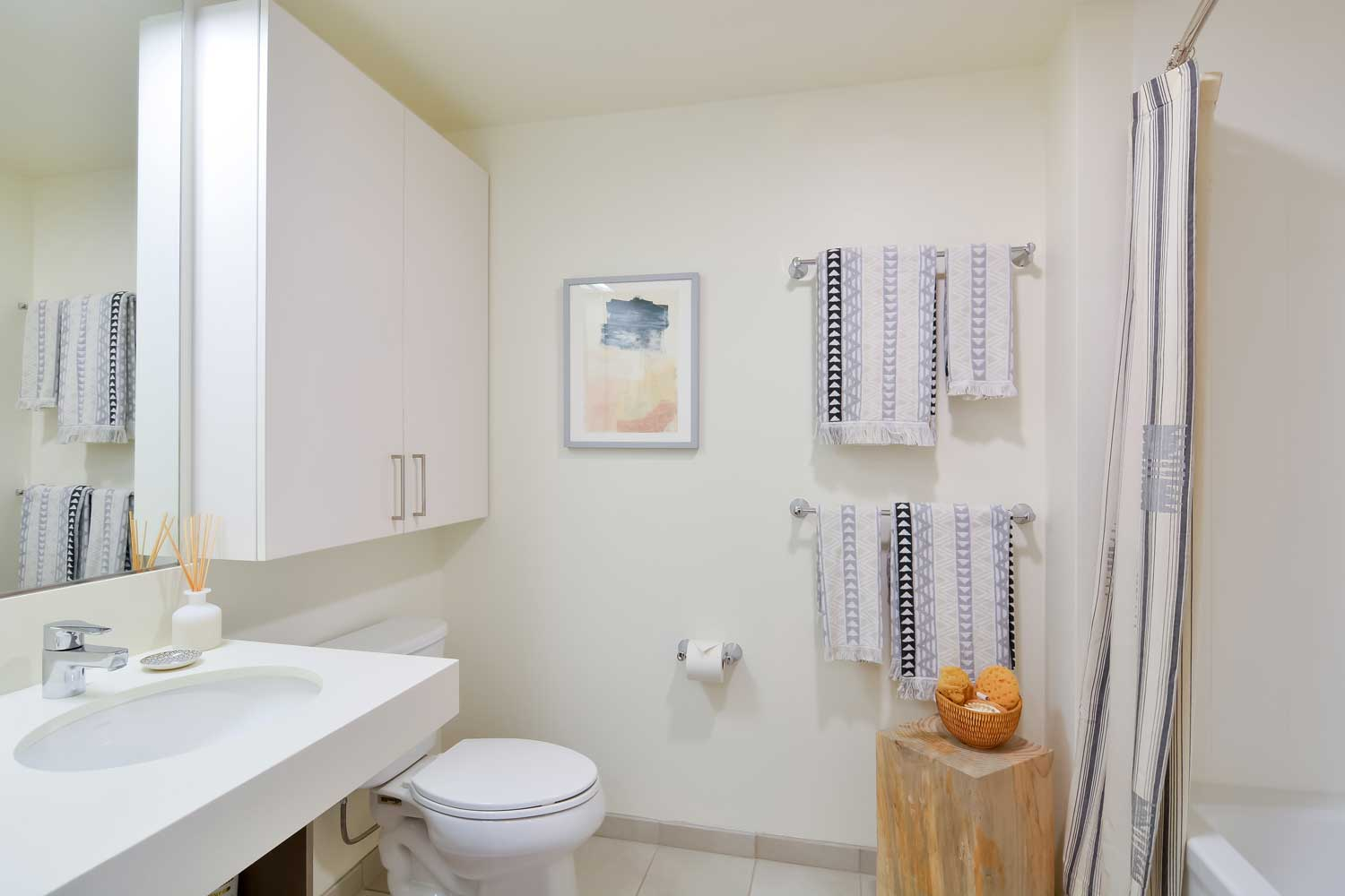 Apartments in Union City for Rent - The Union Flats Bathroom with Large Vanity, Extra Storage, and Shower Tub