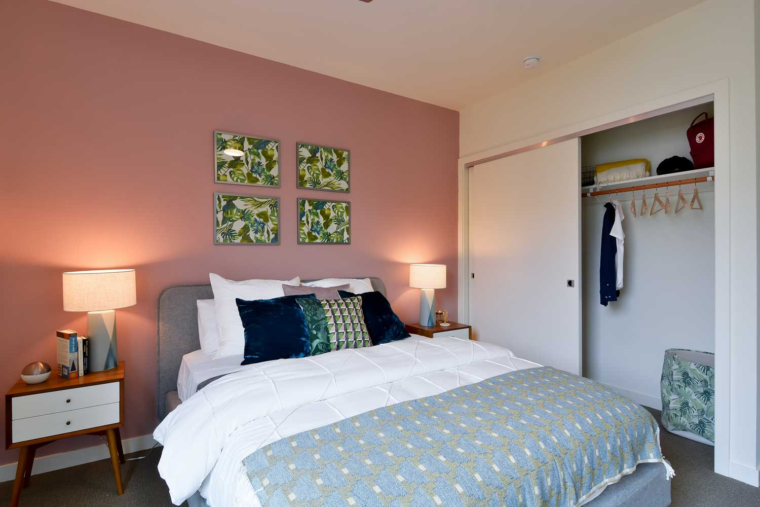One Bedroom Apartments in Union City, CA - The Union Flats Bedroom with Carpet Flooring and Large Closet