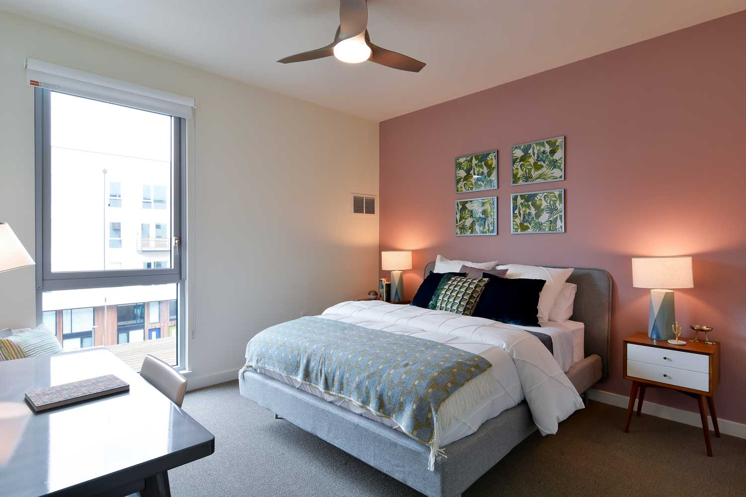 Apartments in Union City-The Union Flats Spacious Bedroom with Floor to Ceiling Window and Ceiling Fan