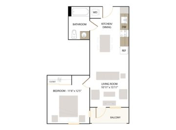 Apartment 129 floor plan