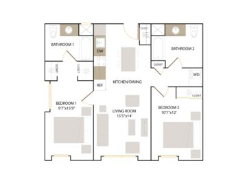 Apartment 208 floor plan